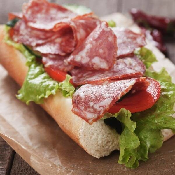 Sandwich with soppressata & wild herbs pecorino