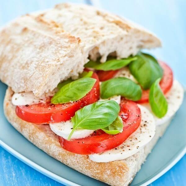 Caprese sandwich takeaway